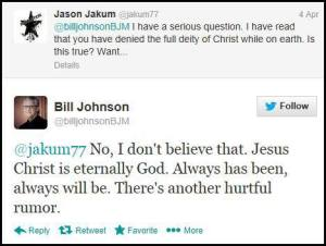 Bill Johnson tweet April 7, 2013